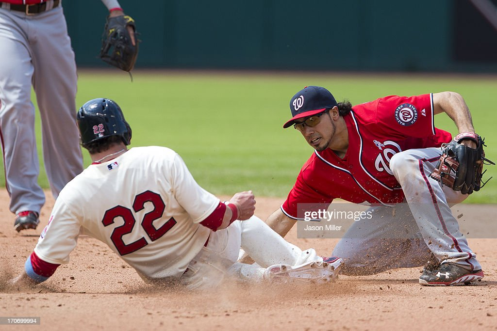<a gi-track='captionPersonalityLinkClicked' href=/galleries/search?phrase=Jason+Kipnis&family=editorial&specificpeople=5330784 ng-click='$event.stopPropagation()'>Jason Kipnis</a> #22 of the Cleveland Indians is tagged out by second baseman Anthony Rendon #6 of the Washington Nationals during the sixth inning at Progressive Field on June 16, 2013 in Cleveland, Ohio.