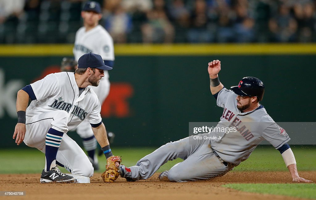<a gi-track='captionPersonalityLinkClicked' href=/galleries/search?phrase=Jason+Kipnis&family=editorial&specificpeople=5330784 ng-click='$event.stopPropagation()'>Jason Kipnis</a> #22 of the Cleveland Indians is tagged out on a steal attempt by shortstop <a gi-track='captionPersonalityLinkClicked' href=/galleries/search?phrase=Chris+Taylor+-+Baseball+Player&family=editorial&specificpeople=13511734 ng-click='$event.stopPropagation()'>Chris Taylor</a> #1 of the Seattle Mariners to end the top of the eighth inning at Safeco Field on May 28, 2015 in Seattle, Washington.