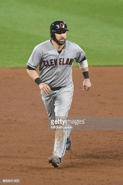 Jason Kipnis of the Cleveland Indians leads off second base during a baseball game against the Baltimore Orioles at Oriole park at Camden Yards on...