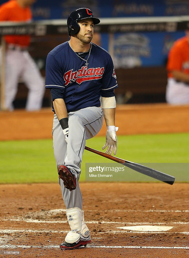 <a gi-track='captionPersonalityLinkClicked' href=/galleries/search?phrase=Jason+Kipnis&family=editorial&specificpeople=5330784 ng-click='$event.stopPropagation()'>Jason Kipnis</a> #22 of the Cleveland Indians reacts after striking out during a game against the Miami Marlins at Marlins Park on August 4, 2013 in Miami, Florida.