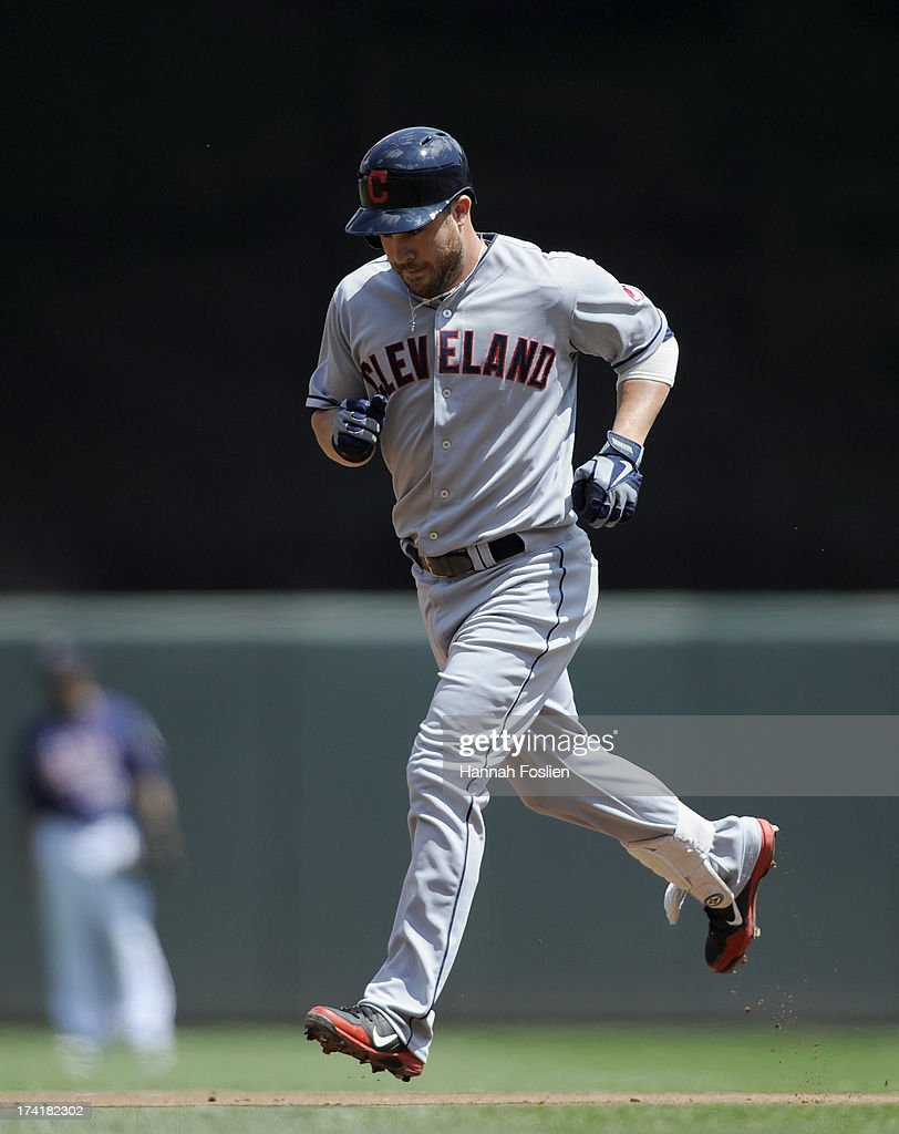 <a gi-track='captionPersonalityLinkClicked' href=/galleries/search?phrase=Jason+Kipnis&family=editorial&specificpeople=5330784 ng-click='$event.stopPropagation()'>Jason Kipnis</a> #22 of the Cleveland Indians rounds the bases after hitting a two run home run against the Minnesota Twins during the third inning of the game on July 21, 2013 at Target Field in Minneapolis, Minnesota.