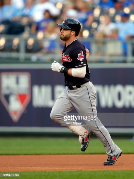 Jason Kipnis of the Cleveland Indians rounds the bases after hitting a solo home run during the 1st inning of the game against the Kansas City Royals...
