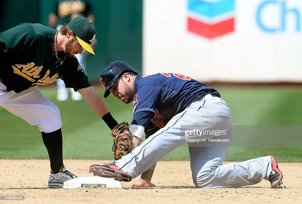 <a gi-track='captionPersonalityLinkClicked' href=/galleries/search?phrase=Jason+Kipnis&family=editorial&specificpeople=5330784 ng-click='$event.stopPropagation()'>Jason Kipnis</a> #22 of the Cleveland Indians steals second base beating the tag of <a gi-track='captionPersonalityLinkClicked' href=/galleries/search?phrase=Eric+Sogard&family=editorial&specificpeople=6796459 ng-click='$event.stopPropagation()'>Eric Sogard</a> #28 of the Oakland Athletics in the fifth inning at O.co Coliseum on August 18, 2013 in Oakland, California.