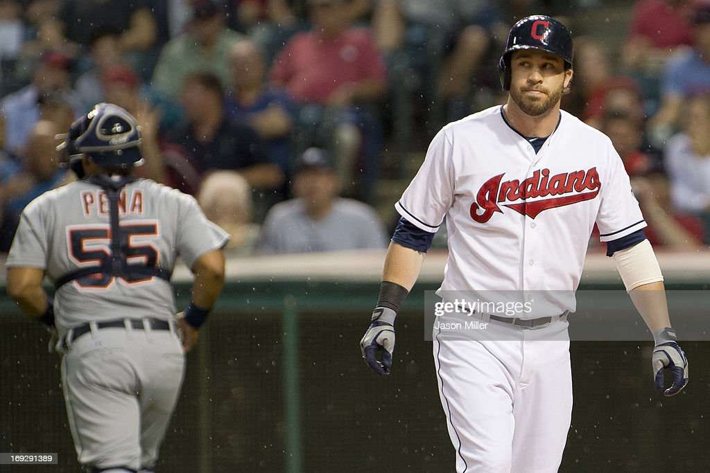 <a gi-track='captionPersonalityLinkClicked' href=/galleries/search?phrase=Jason+Kipnis&family=editorial&specificpeople=5330784 ng-click='$event.stopPropagation()'>Jason Kipnis</a> #22 of the Cleveland Indians strikes out to end the fourth inning against the Detroit Tigers at Progressive Field on May 22, 2013 in Cleveland, Ohio.