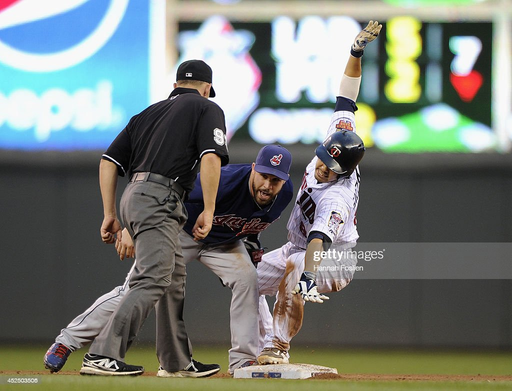<a gi-track='captionPersonalityLinkClicked' href=/galleries/search?phrase=Jason+Kipnis&family=editorial&specificpeople=5330784 ng-click='$event.stopPropagation()'>Jason Kipnis</a> #22 of the Cleveland Indians tags out <a gi-track='captionPersonalityLinkClicked' href=/galleries/search?phrase=Kurt+Suzuki&family=editorial&specificpeople=682702 ng-click='$event.stopPropagation()'>Kurt Suzuki</a> #8 of the Minnesota Twins at second base as umpire Will Little #93 looks on during the fourth inning of the game on July 21, 2014 at Target Field in Minneapolis, Minnesota. The Twins defeated the Indians 4-3.