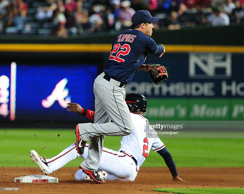 <a gi-track='captionPersonalityLinkClicked' href=/galleries/search?phrase=Jason+Kipnis&family=editorial&specificpeople=5330784 ng-click='$event.stopPropagation()'>Jason Kipnis</a> #22 of the Cleveland Indians turns a double play against B. J. Upton #2 of the Atlanta Braves at Turner Field on August 29, 2013 in Atlanta, Georgia.