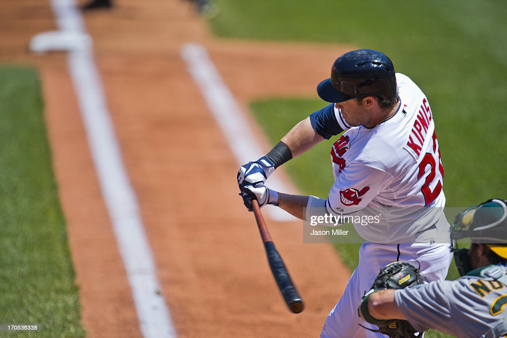 <a gi-track='captionPersonalityLinkClicked' href=/galleries/search?phrase=Jason+Kipnis&family=editorial&specificpeople=5330784 ng-click='$event.stopPropagation()'>Jason Kipnis</a> #22 of the Cleveland Indians up to bat during the game against the Oakland Athletics at Progressive Field on May 9, 2013 in Cleveland, Ohio.