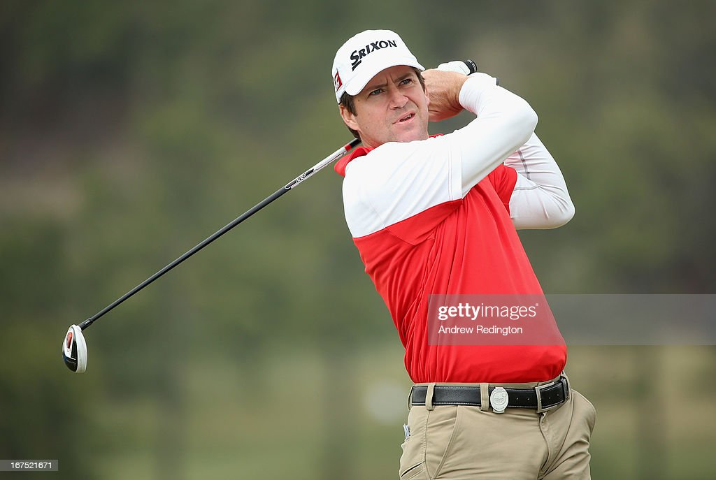 Jason Knutzon of the USA in action during the second round of the Ballantine's Championship at Blackstone Golf Club on April 26, 2013 in Icheon, South Korea.