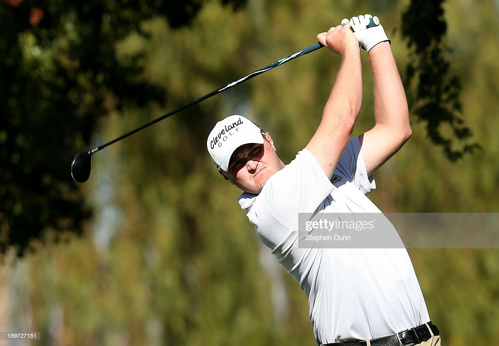 Jason Kokrak hits his tee shot on the ninth hole during the third round of the Humana Challenge In Partnership With The Clinton Foundation on the Palmer Private Course at PGA West on January 19, 2013 in La Quinta, California.