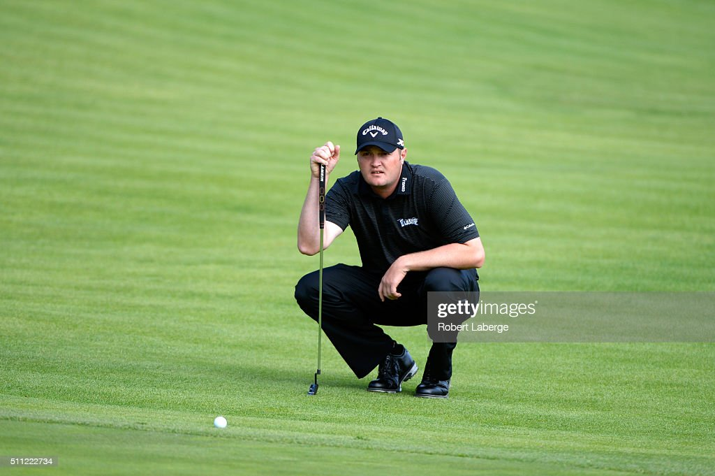 <a gi-track='captionPersonalityLinkClicked' href=/galleries/search?phrase=Jason+Kokrak&family=editorial&specificpeople=4466691 ng-click='$event.stopPropagation()'>Jason Kokrak</a> lines up a putt on the fifth hole during round one of the Northern Trust Open at Riviera Country Club on February 18, 2016 in Pacific Palisades, California.