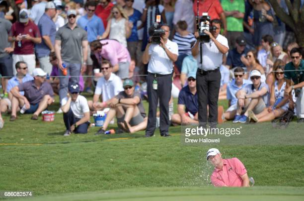 Jason Kokrak plays a shot from a bunker on the 17th hole during Round Three of the ATT Byron Nelson at the TPC Four Seasons Resort Las Colinas on May...