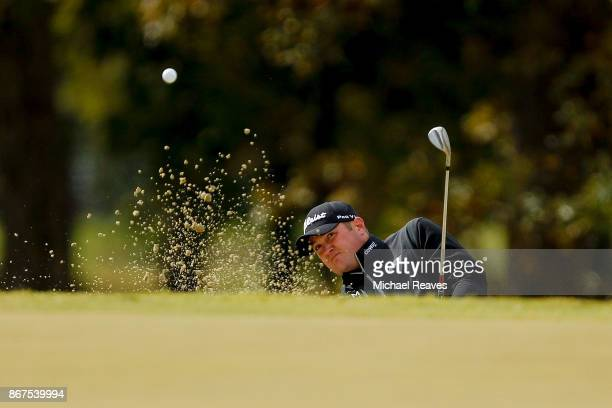 Jason Kokrak plays a shot from a bunker on the third hole during the third round of the Sanderson Farms Championship at the Country Club of Jackson...