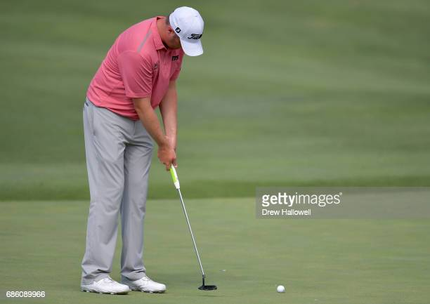 Jason Kokrak reacts after a bogie on the 17th green during Round Three of the ATT Byron Nelson at the TPC Four Seasons Resort Las Colinas on May 20...