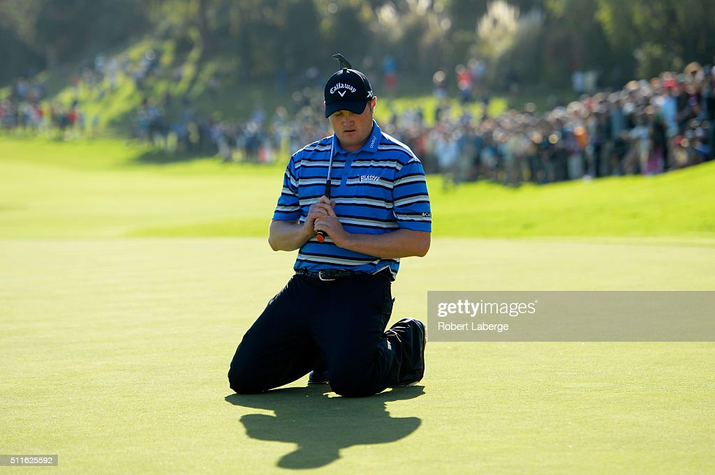 <a gi-track='captionPersonalityLinkClicked' href=/galleries/search?phrase=Jason+Kokrak&family=editorial&specificpeople=4466691 ng-click='$event.stopPropagation()'>Jason Kokrak</a> reacts to a missed putt on the 18th hole during the final round of the Northern Trust Open at Riviera Country Club on February 21, 2016 in Pacific Palisades, California.