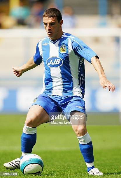Jason Koumas of Wigan Athletic in action during the PreSeason Friendly match between Halifax Town and Wigan Athletic at The Shay on July 28 2007 in...