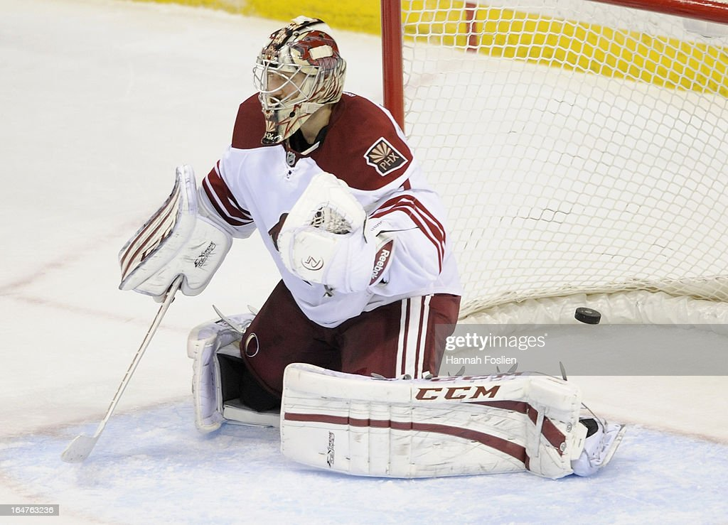<a gi-track='captionPersonalityLinkClicked' href=/galleries/search?phrase=Jason+LaBarbera&family=editorial&specificpeople=240674 ng-click='$event.stopPropagation()'>Jason LaBarbera</a> #1 of the Phoenix Coyotes reacts as the puck shot by Ryan Suter #20 of the Minnesota Wild gets past him in the final minute of the third period of the game on March 27, 2013 at Xcel Energy Center in St Paul, Minnesota. The Wild defeated the Coyotes 4-3 in overtime.