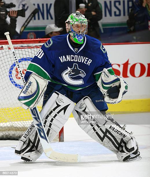 Jason LaBarbera of the Vancouver Canucks stands in his crease during the game against the Los Angeles Kings at General Motors Place on April 9 2009...