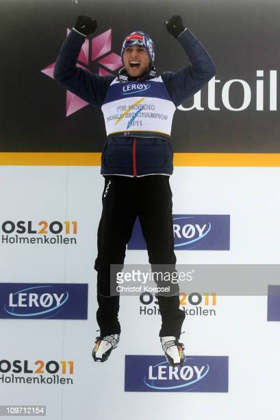 Jason Lamy Chappuis of France celebrates after winning the gold medal in the Nordic Combined Cross Country 10km race during the FIS Nordic World Ski...
