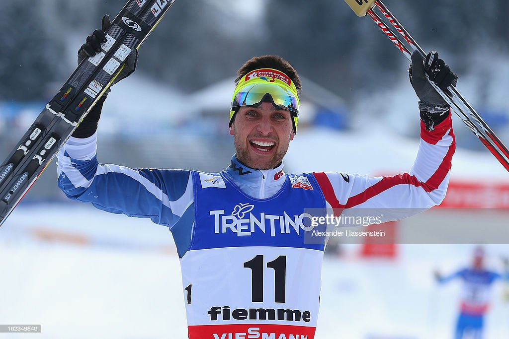 Jason Lamy Chappuis of France celebrates following the Men's Nordic Combined 10km at the FIS Nordic World Ski Championships on February 22, 2013 in Val di Fiemme, Italy.