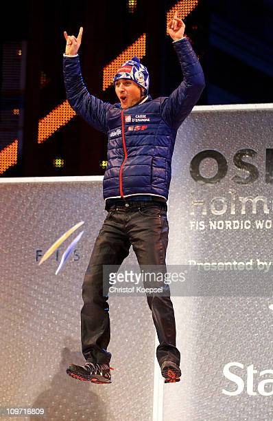 Jason Lamy Chappuis of France celebrates prior to receiving the gold medal won in the Nordic Combined HS134/10km during the FIS Nordic World Ski...