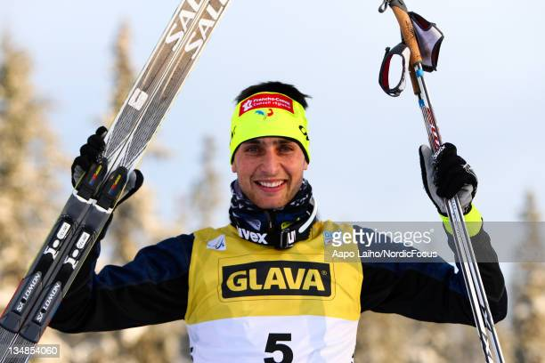 Jason Lamy Chappuis of France celebrates the 2nd place after the Men's Nordic Combined HS138/10km Cross Country event during day two of the FIS World...