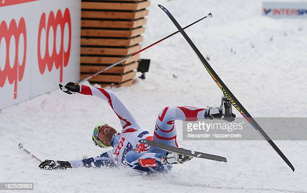 Jason Lamy Chappuis of France celebrates victory for his team during the Nordic Combined Team 4x5km at the FIS Nordic World Ski Championships on...