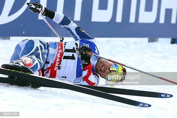 Jason Lamy Chappuis of France celebrates winning the Men's Nordic Combined on February 22 2013 in Val di Fiemme Italy