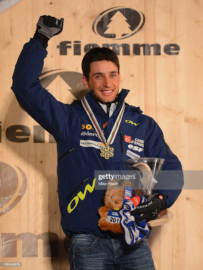Jason Lamy Chappuis of France celebrates with his Gold medal at the medal ceremony for the Men's Nordic Combined 106+10km at the FIS Nordic World Ski Championships on February 23, 2013 in Val di Fiemme, Italy.