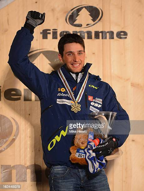 Jason Lamy Chappuis of France celebrates with his Gold medal at the medal ceremony for the Men's Nordic Combined 10610km at the FIS Nordic World Ski...