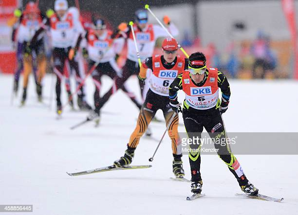 Jason Lamy Chappuis of France competes in the cross country of the FIS Nordic Combined World Cup Men's Nordic Combined HS 106/10km on December 21...