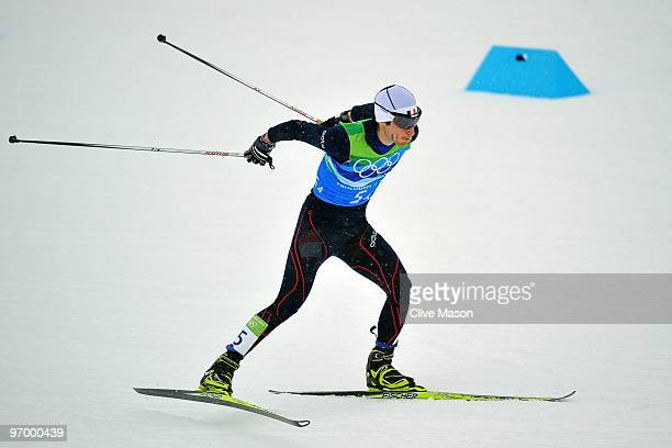 Jason Lamy Chappuis of France during his portion of the Nordic Combined Team relay on day twelve of the 2010 Vancouver Winter Olympics at Whistler...