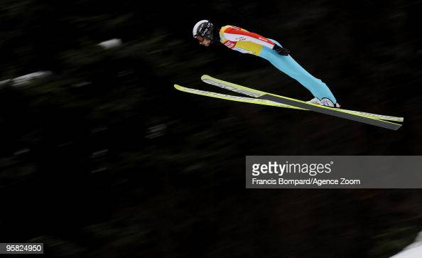 Jason Lamy Chappuis of France in action during the DKB Nordic Combined FIS World Cup Gundersen HS100/10 km on January 17 2010 in ChauxNeuve France