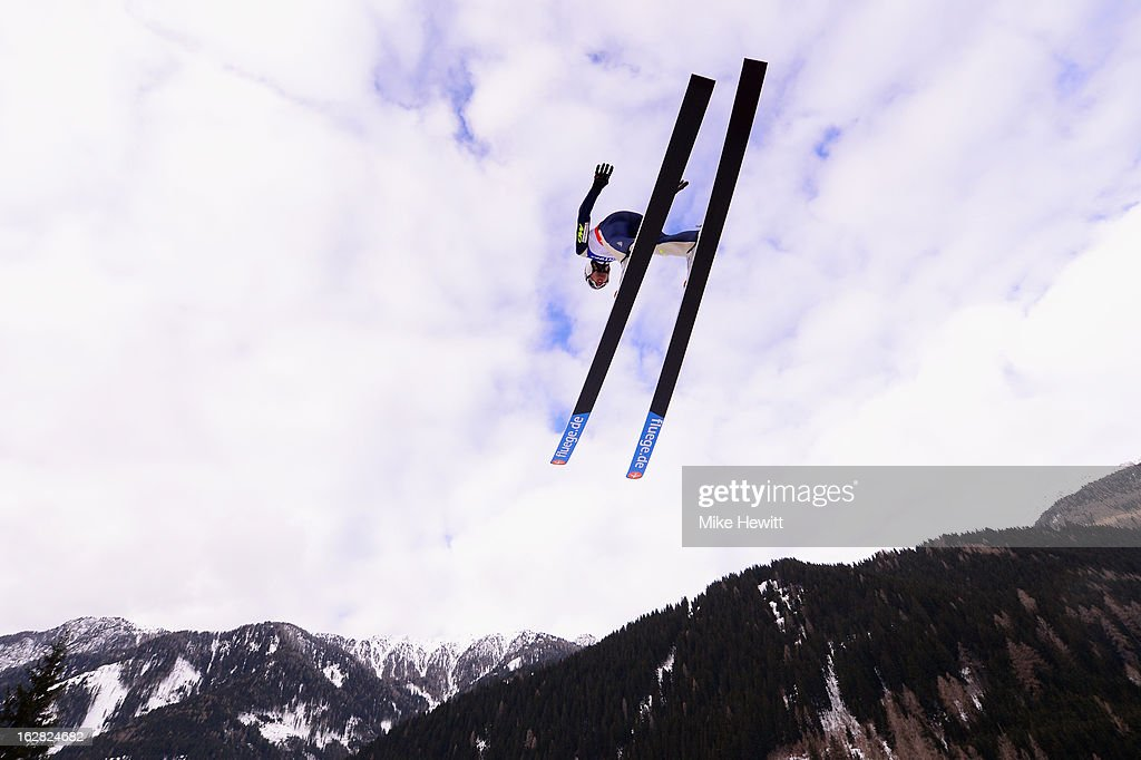 Jason Lamy Chappuis of France in action during the Men's Nordic Combined, Ski Jumping HS134 at the FIS Nordic World Ski Championships on February 28, 2013 in Val di Fiemme, Italy.