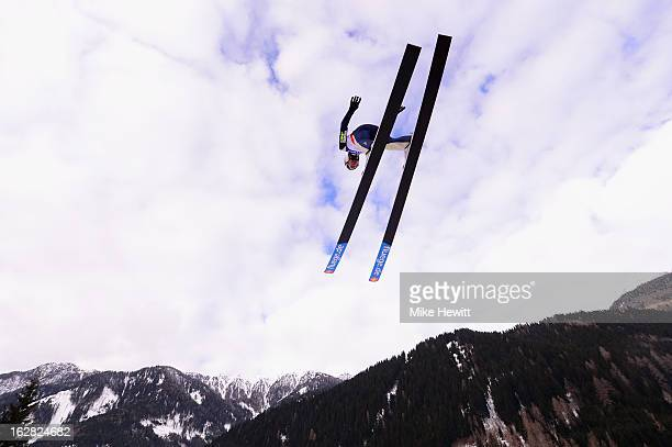 Jason Lamy Chappuis of France in action during the Men's Nordic Combined Ski Jumping HS134 at the FIS Nordic World Ski Championships on February 28...