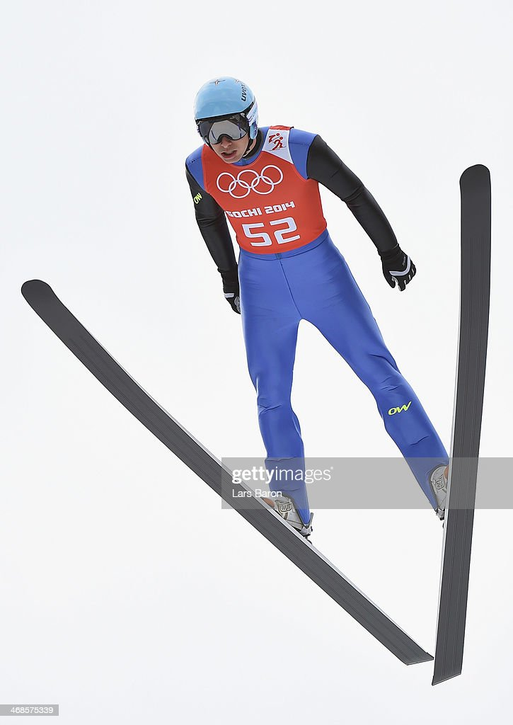 Jason Lamy Chappuis of France jumps during the Men's Individual Gundersen Normal Hill/10 km Nordic Combined training on day 4 of the Sochi 2014 Winter Olympics at the RusSki Gorki Ski Jumping Center on February 11, 2014 in Sochi, Russia.