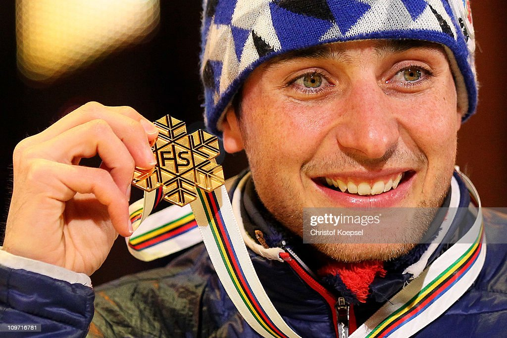 Jason Lamy Chappuis of France poses with the gold medal won in the Nordic Combined HS134/10km during the FIS Nordic World Ski Championships at University Square on March 2, 2011 in Oslo, Norway.