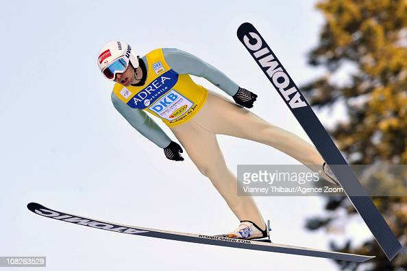 Jason Lamy Chappuis of France takes 1st place during the DKB Nordic Combined FIS World Cup HS118/10 k on January 23 2011 in Chaux Neuve France