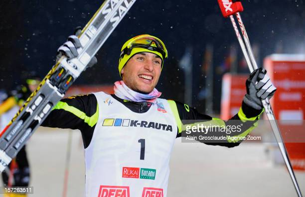 Jason Lamy Chappuis of France takes 1st place during the FIS Nordic Combined World Cup HS142/10km on December 01 2012 in Kuusamo Finland