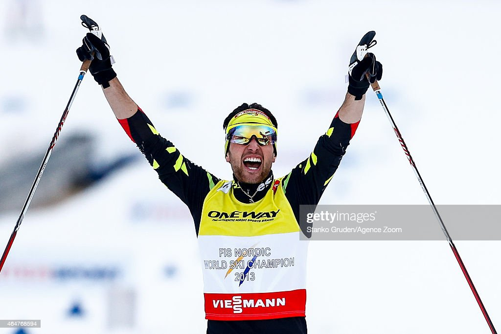 Jason Lamy Chappuis of France takes 1st place during the FIS Nordic World Ski Championships Men's Nordic Combined Team Sprint on February 28, 2015 in Falun, Sweden.