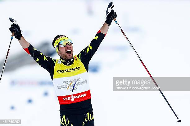 Jason Lamy Chappuis of France takes 1st place during the FIS Nordic World Ski Championships Men's Nordic Combined Team Sprint on February 28 2015 in...