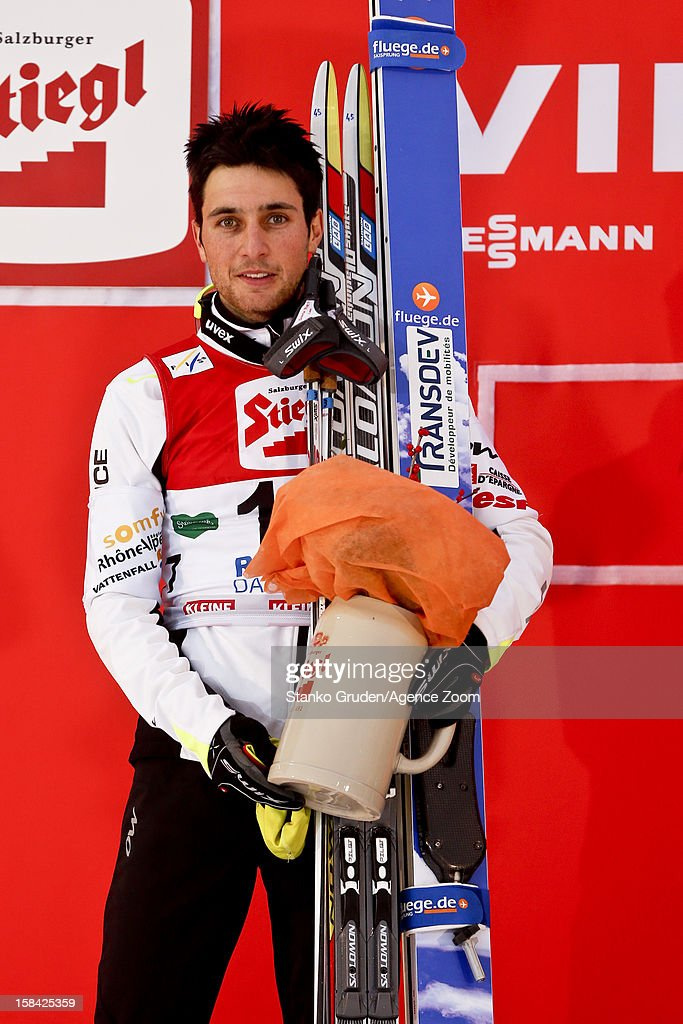 Jason Lamy Chappuis of France takes 2nd place during the FIS Nordic Combined World Cup HS98/10km December 16, 2012 in Ramsau, Austria.
