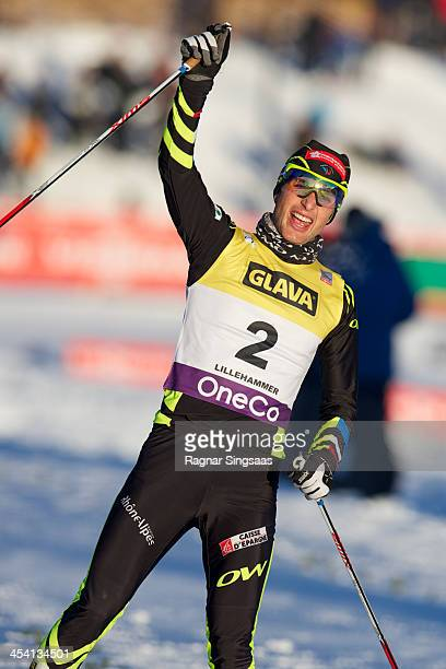 Jason Lamy Chappuis of France takes first place during the FIS Nordic Combined World Cup HS106/10km on December 7 2013 in Lillehammer Norway