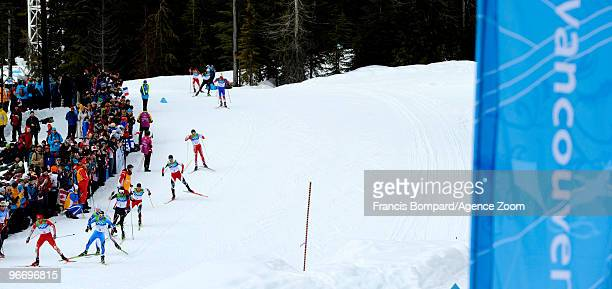 Jason Lamy Chappuis of France takes gold medal Johnny Spillane of the USA take Silver MedalAlessandro Pittin of Italy takes Bronze medal during the...