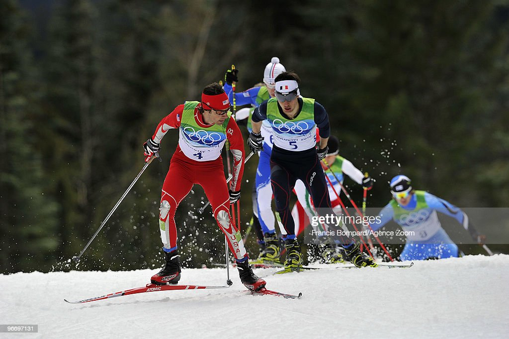 Jason Lamy Chappuis of France takes gold medal, Johnny Spillane of the USA takes Silver Medal during the Nordic Combined Individual NH/10km on Day 3 of the 2010 Vancouver Winter Olympic Games on February 14, 2010 in Whistler Olympic Park, Canada.