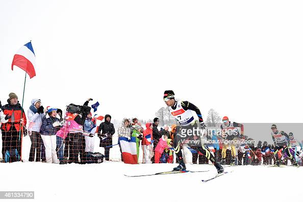 Jason LamyChappuis of France competes during the FIS Nordic Combined World Cup Team Sprint on January 11 2015 in ChauxNeuve France