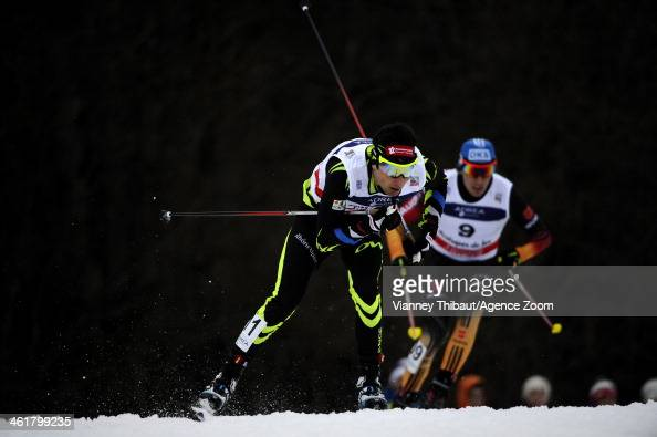 Jason LamyChappuis of France competes during the FIS Nordic Combined World Cup HS117/10km on January 12 2014 in ChauxNeuve France