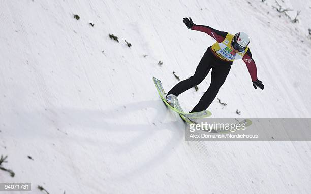 Jason LamyChappuis of France competes in the Gundersen Ski Jumping HS 138 event during day two of the FIS Nordic Combined World Cup on December 6...