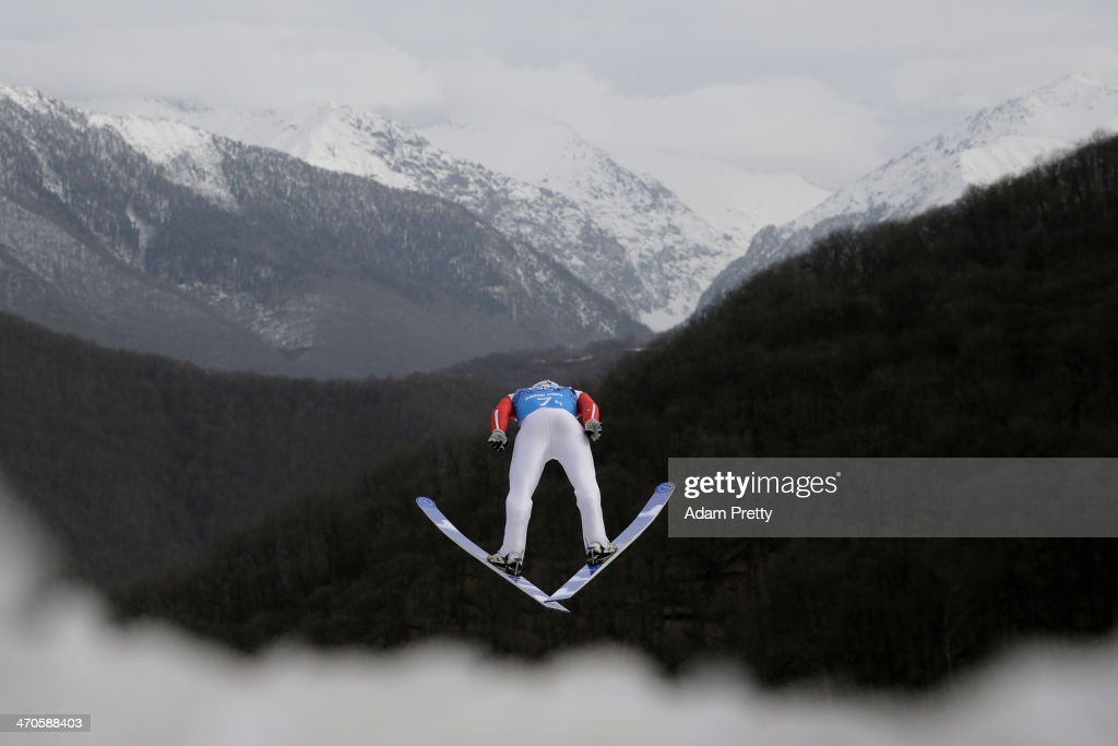 Jason Lamy-Chappuis of France performs a trial jump ahead of the Nordic Combined Men's Team LH during day 13 of the Sochi 2014 Winter Olympics at RusSki Gorki Jumping Center on February 20, 2014 in Sochi, Russia.