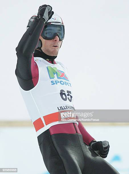 Jason LamyChappuis of France reacts in the Gundersen Ski Jumping HS 138 event during day one of the FIS Nordic Combined World Cup on December 5 2009...
