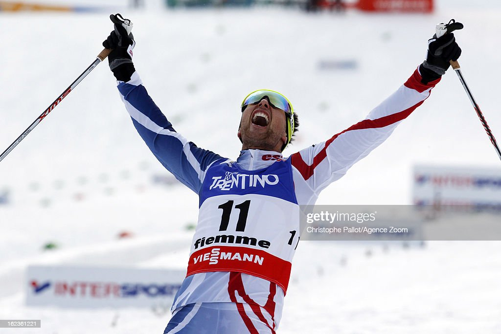 Jason Lamy-Chappuis of France takes the gold medal during the FIS Nordic World Ski Championships Nordic Combined HS106/10km on February 22, 2013 in Val di Fiemme, Italy.